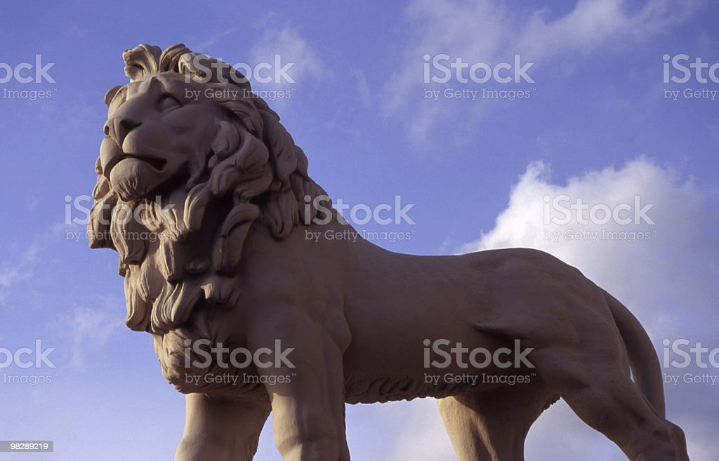 Lion sculpture by Westminster Bridge, London, England royalty-free stock photo