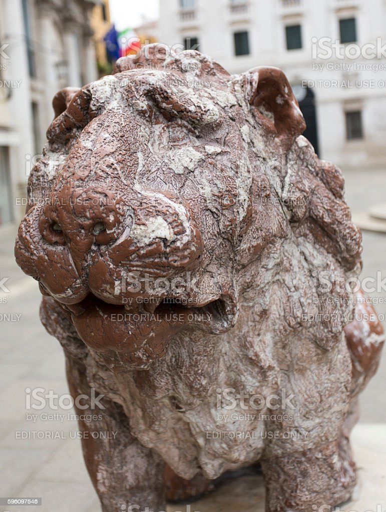 Lion sculpture in Piazza San Marco, Venice, Veneto, Italy royalty-free stock photo