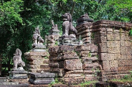 478956028istockphoto lion sculpture in temple Preah Khan 1075978674