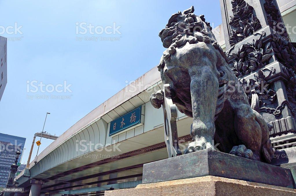 Lion sculpture of Nihonbashi stock photo