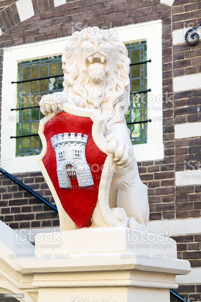 Lion sculpture of town hall of Alkmaar, Netherlands stock photo
