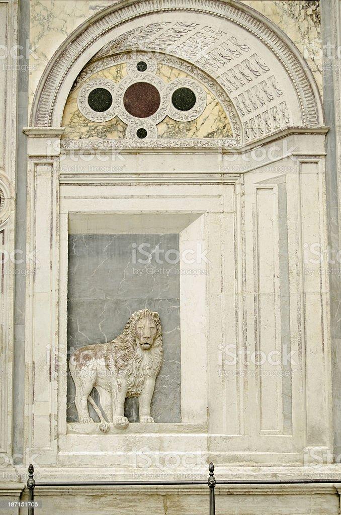 Lion Sculpture, Venice Hospital stock photo
