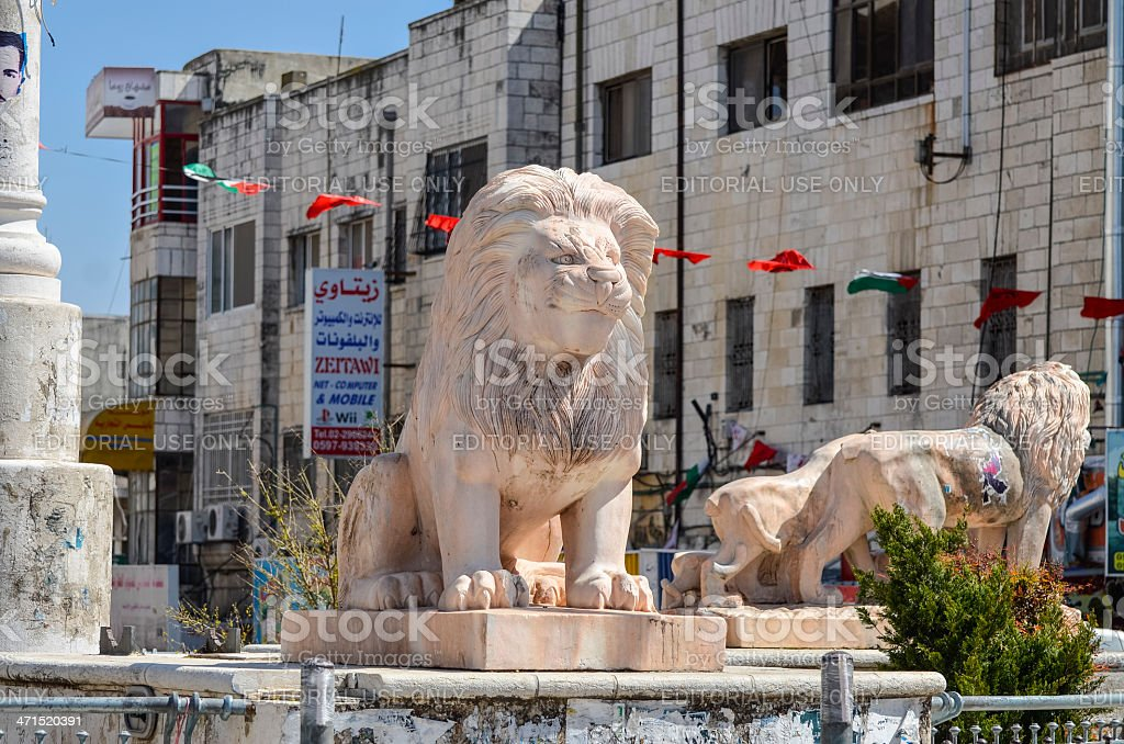 Lion Sculptures in Ramallah stock photo