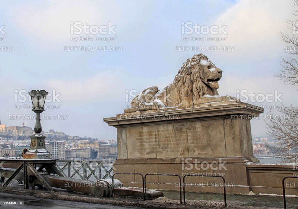 Lion sculptures of Chain Bridge with view of Budapest, Hungary stock photo