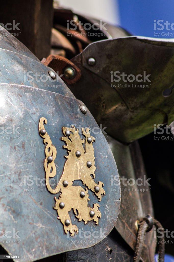 Lion Sigil on Steel Armour stock photo