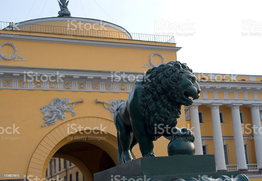 Lion statue, Admiralty building, St Petersburg, Russia royalty-free stock photo