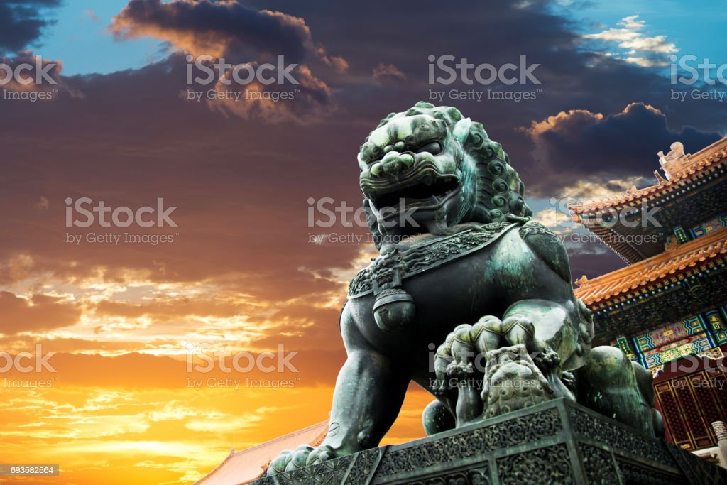 Lion statue at Forbidden city, Beijing stock photo