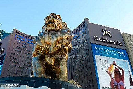 LAS VEGAS,USA - October 09 2017 - Lion statue at Las Vegas MGM Grand Casino Hotel on the Las Vegas Strip on October 09 2017 in Las Vegas USA. MGM is the second largest hotel in the world.
