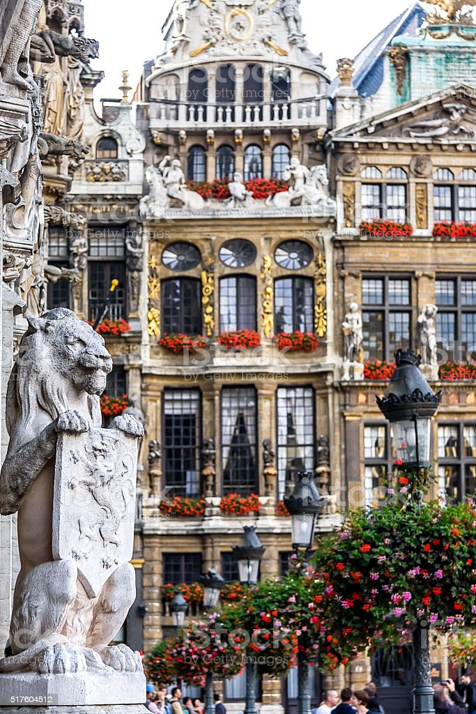 Lion Statue at the Grand Place in Brussels, Belgium stock photo