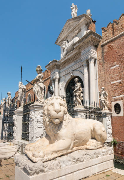 lion statue at the Venetian Arsenal, Venice, Italy closeup of an ancient Greek lion statue at the Venetian Arsenal, Venice, Italy porta magna stock pictures, royalty-free photos & images