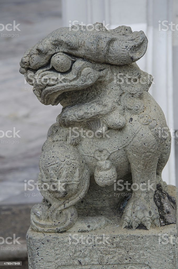 Lion Statue at Wat Pho stock photo