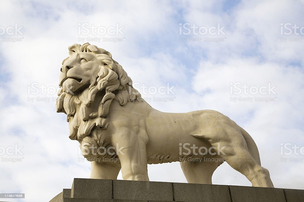 Lion Statue At Westminister Bridge, London stock photo