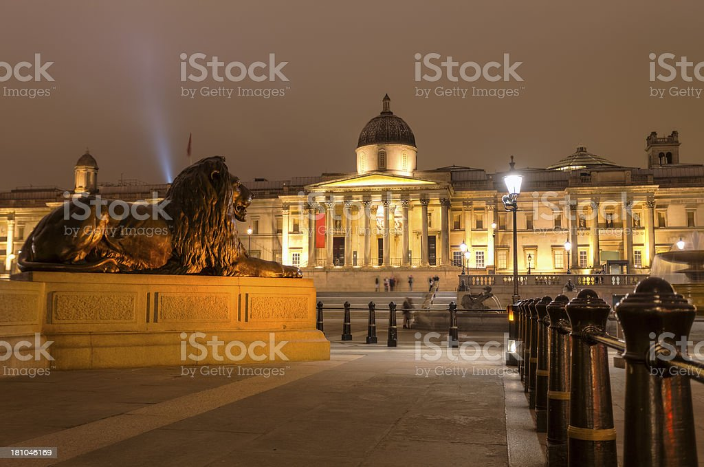 Lion Statue Guarding Trafalgar Square and National Gallery at Night stock photo