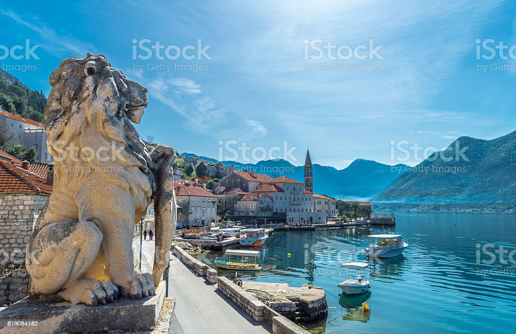 Lion statue in Perast stock photo
