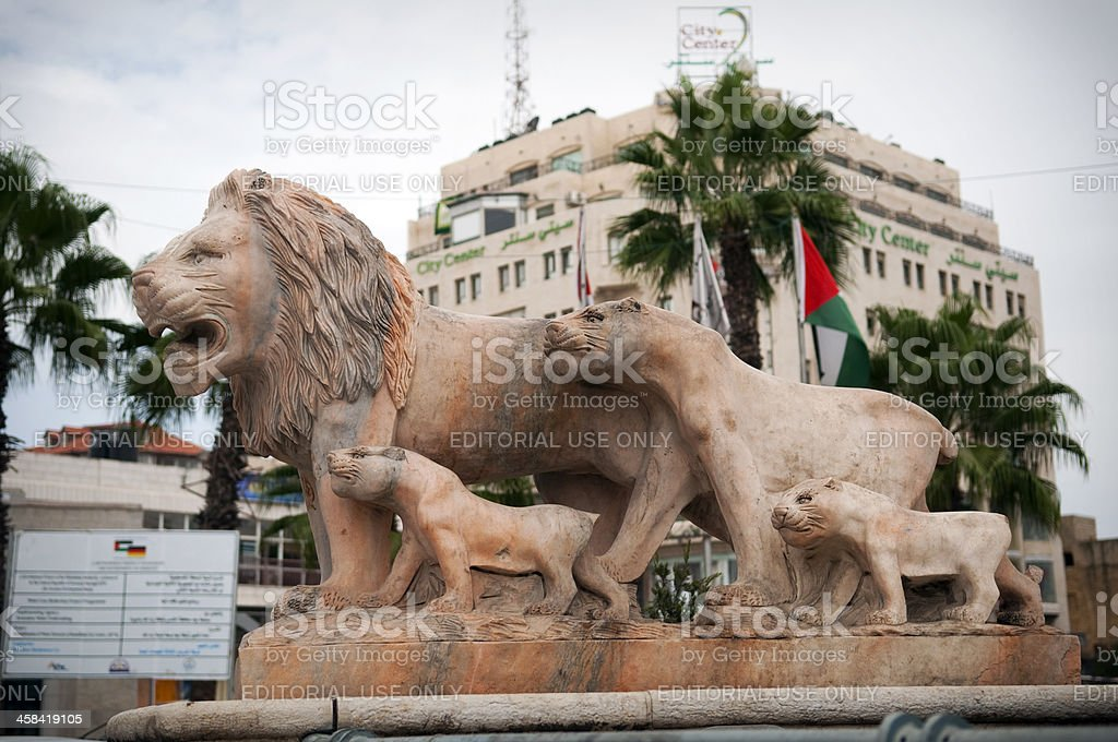 Lion statue in Ramallah, Palestine stock photo