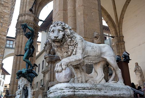 Lion statue in the Loggia della Signoria, Florence