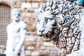 Lion of Loggia dei Lanzi in Piazza della Signoria in Florence. Statue of Flaminio Vacca 1600