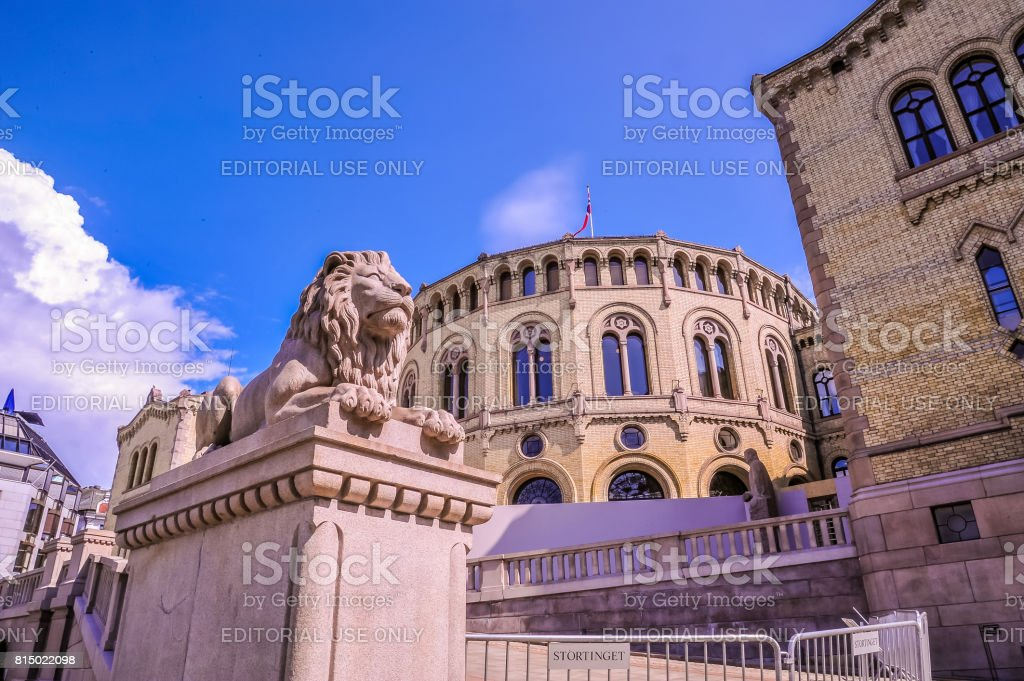 Lion statues at Karl Johans gate, Oslo, Norway stock photo
