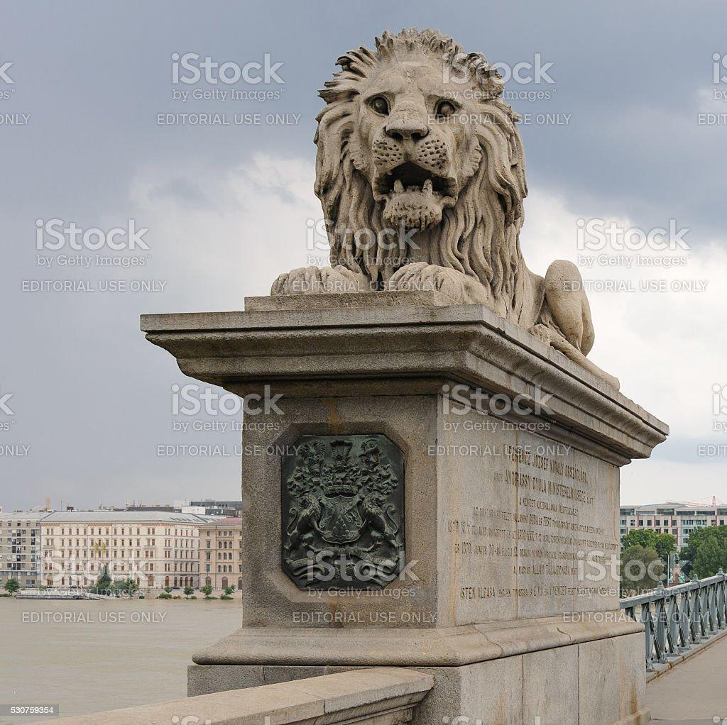 Lion Szechenyi Chain bridge stock photo