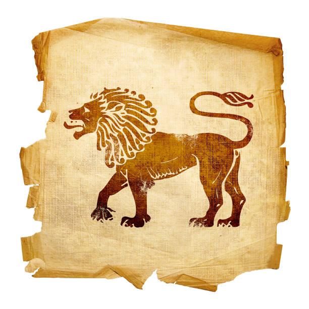 Löwen-Todiac alt, isoliert auf weißem Hintergrund. – Foto
