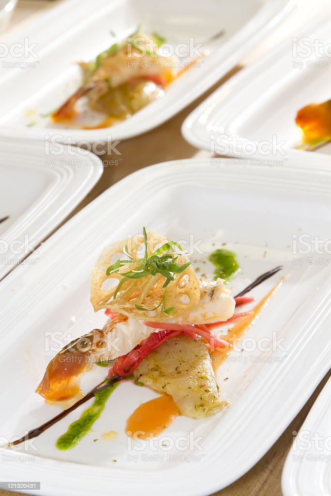 Lionfish and Lobster Tails stock photo