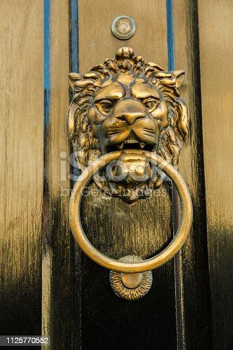 Old lionhead knocker on a door.