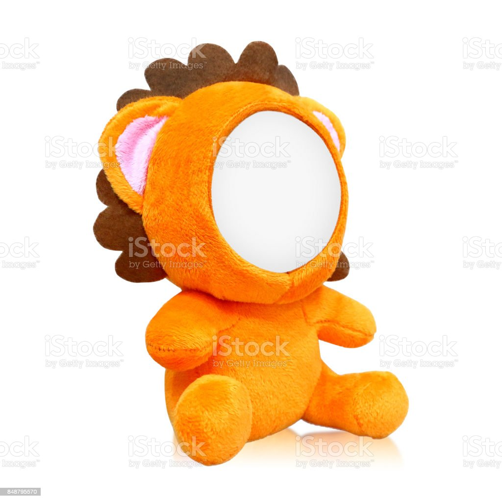 Lions dolls isolated on white background. Blank animal face for design. Can put your photo or image. stock photo