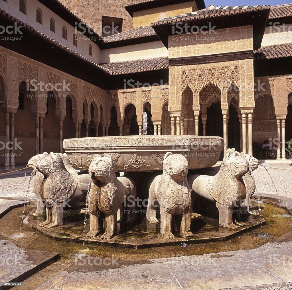 Lions fountain, Palace of Alhambra, Granada. stock photo