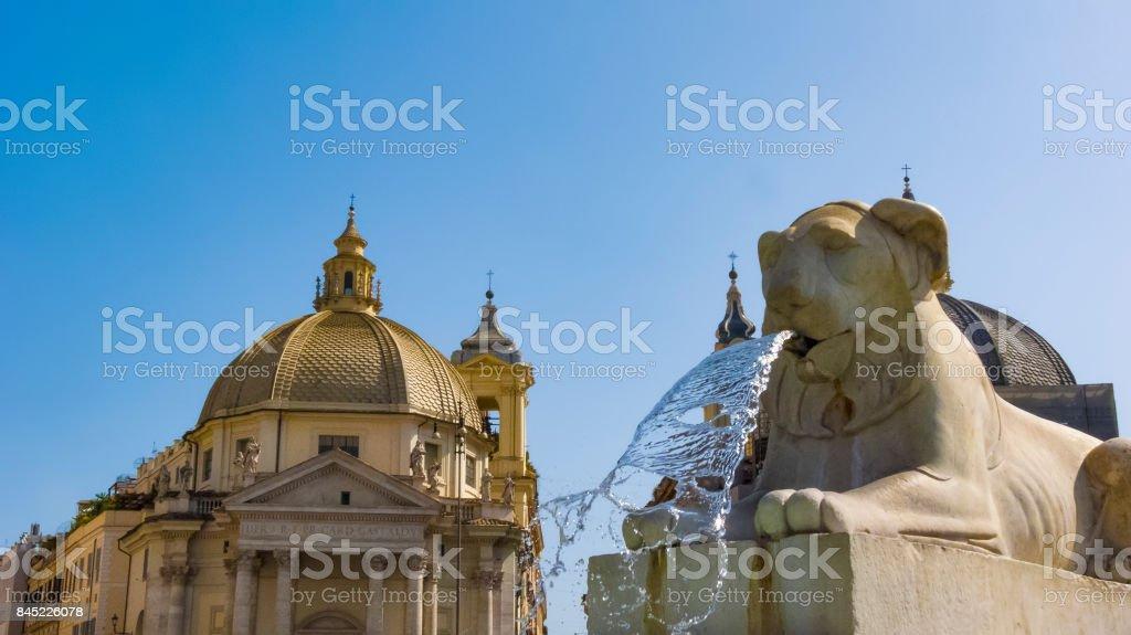 Lions, fountain, Piazza del Popolo, Rome, Italy stock photo