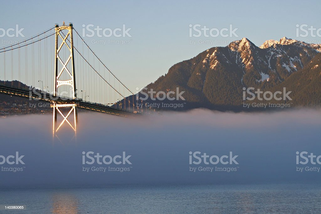 lions gate and fog 2 stock photo