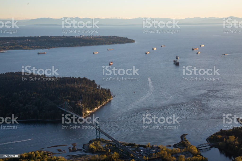 Lions Gate Bridge and Stanley Park Aerial stock photo