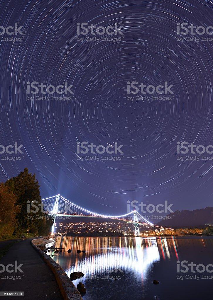 Lions Gate Bridge and Star Trails, Stanley Park, Vancouver stock photo