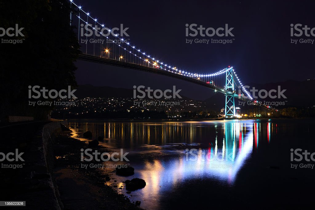 Lions Gate Bridge at Night, Vancouver stock photo