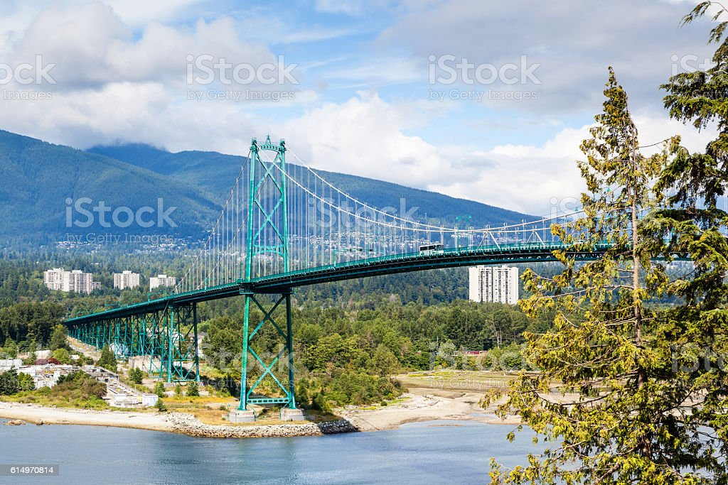 Lions Gate Bridge at Stanley Park in Vancouver stock photo