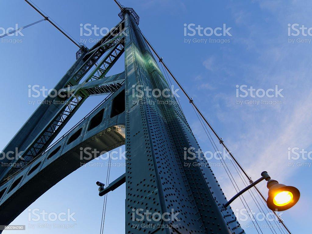 Lions Gate Bridge at Sunset, Vancouver, Canada royaltyfri bildbanksbilder