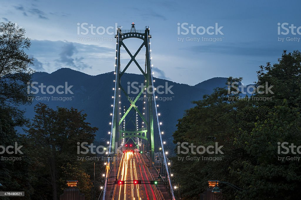 Lions Gate Bridge in Vancouver stock photo