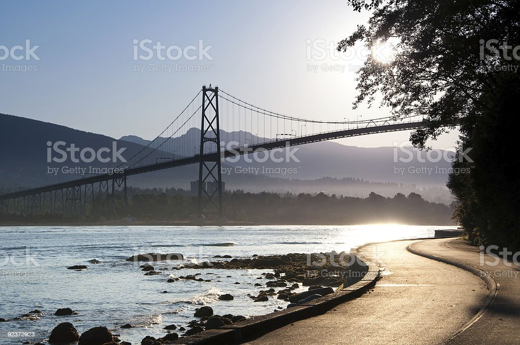 Lions Gate Bridge, in Vancouver, pictured at sunset stock photo