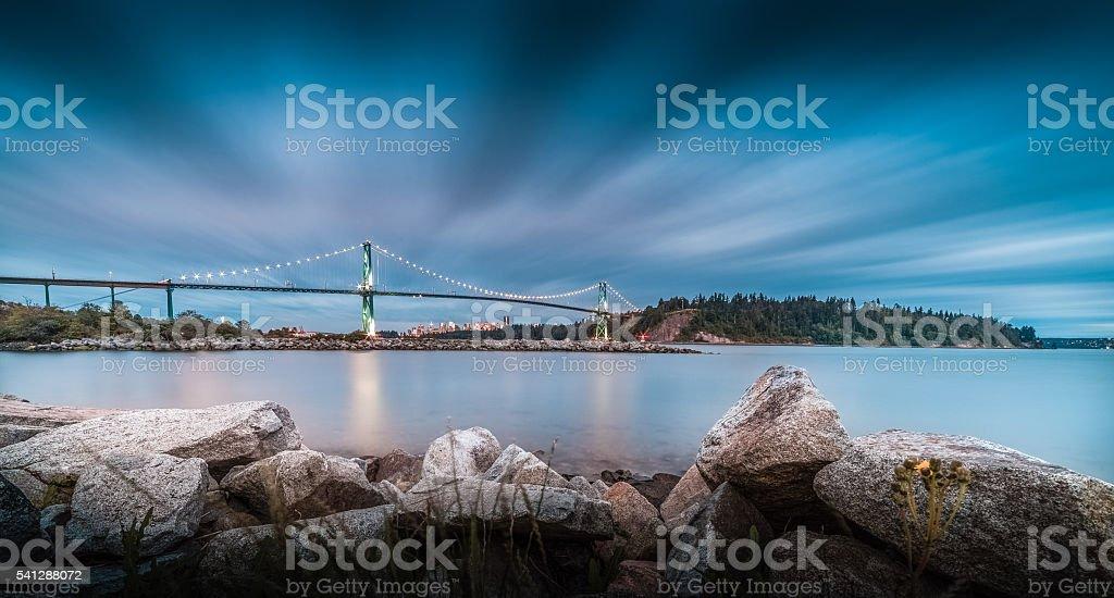 lion's gate bridge stock photo