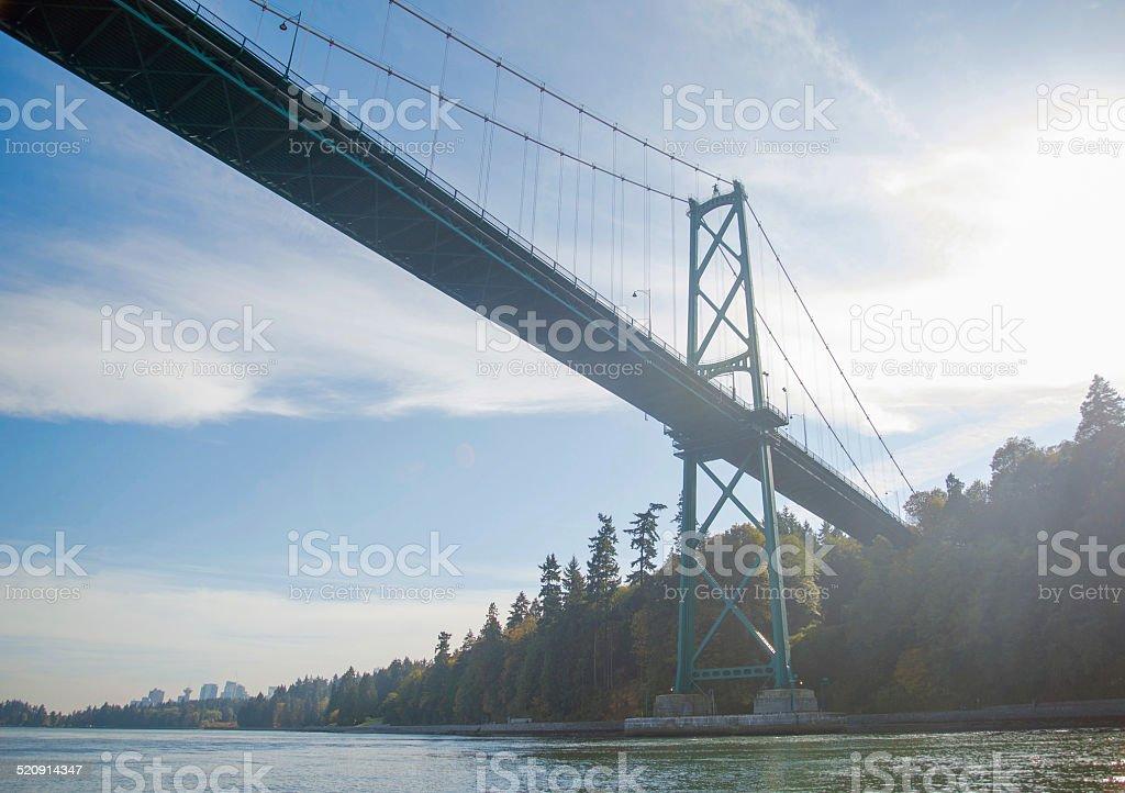 Lions Gate Bridge Vancouver BC facing Stanley Park stock photo