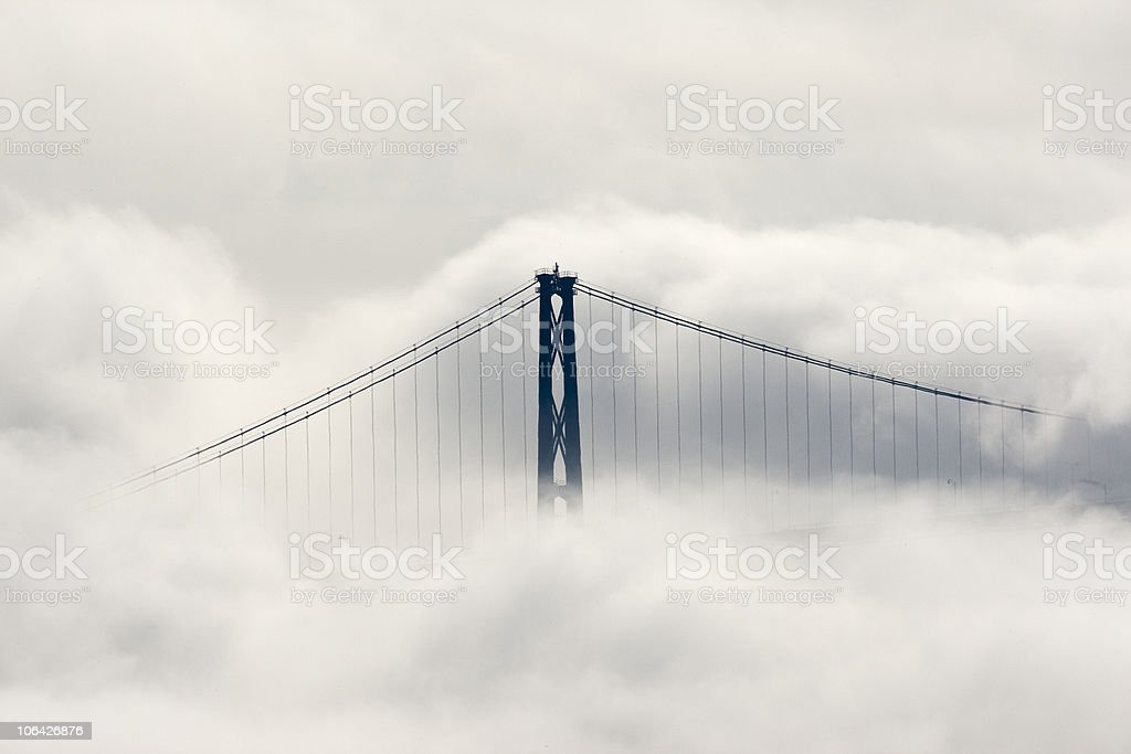 Lions Gate Bridge, Vancouver in Clouds stock photo