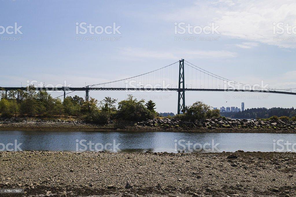 lions gate bridge viewed from ambleside beach stock photo