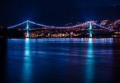 Night time at lions gate bridge