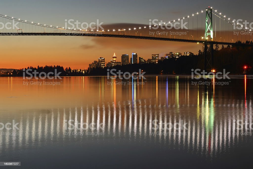 Lions Gate, Vancouver, Dawn stock photo