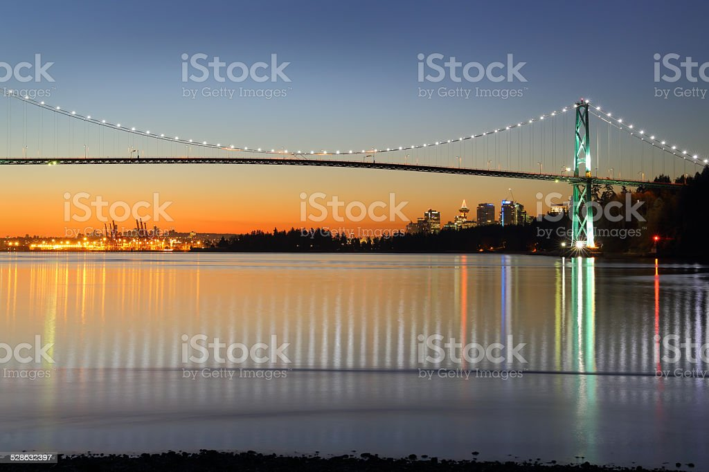 Lions Gate Winter Dawn, Vancouver stock photo