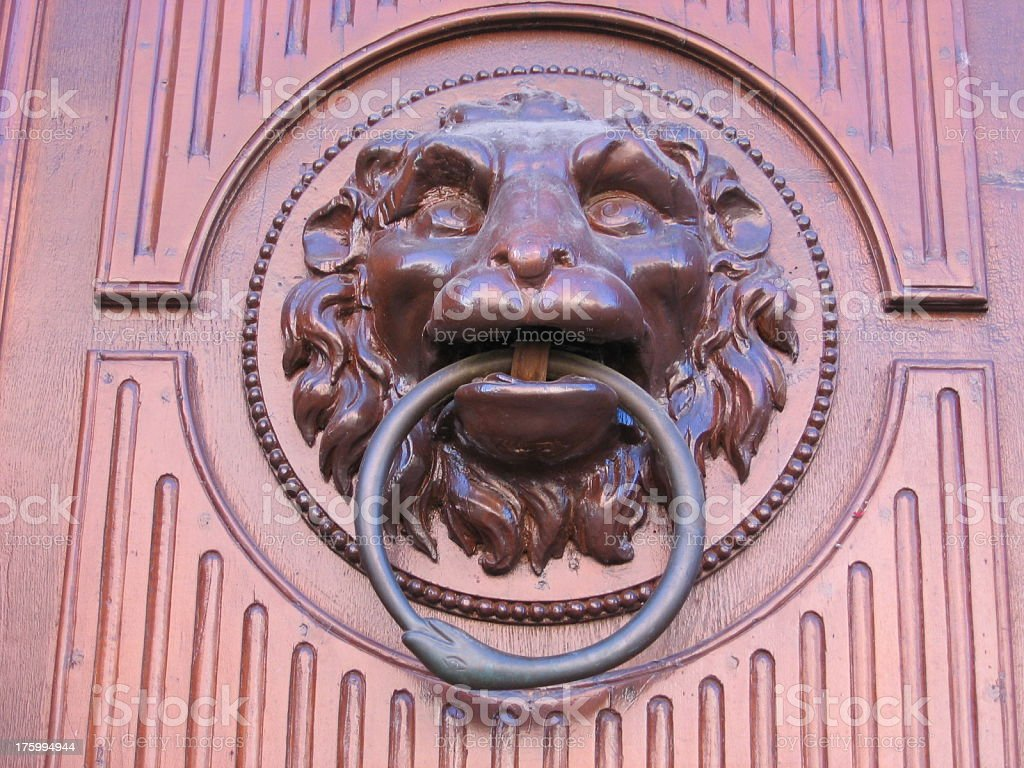 Lion's head knocker royalty-free stock photo