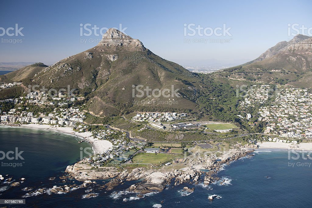 Lion's Head Mountain - South Africa, Aerial View stock photo