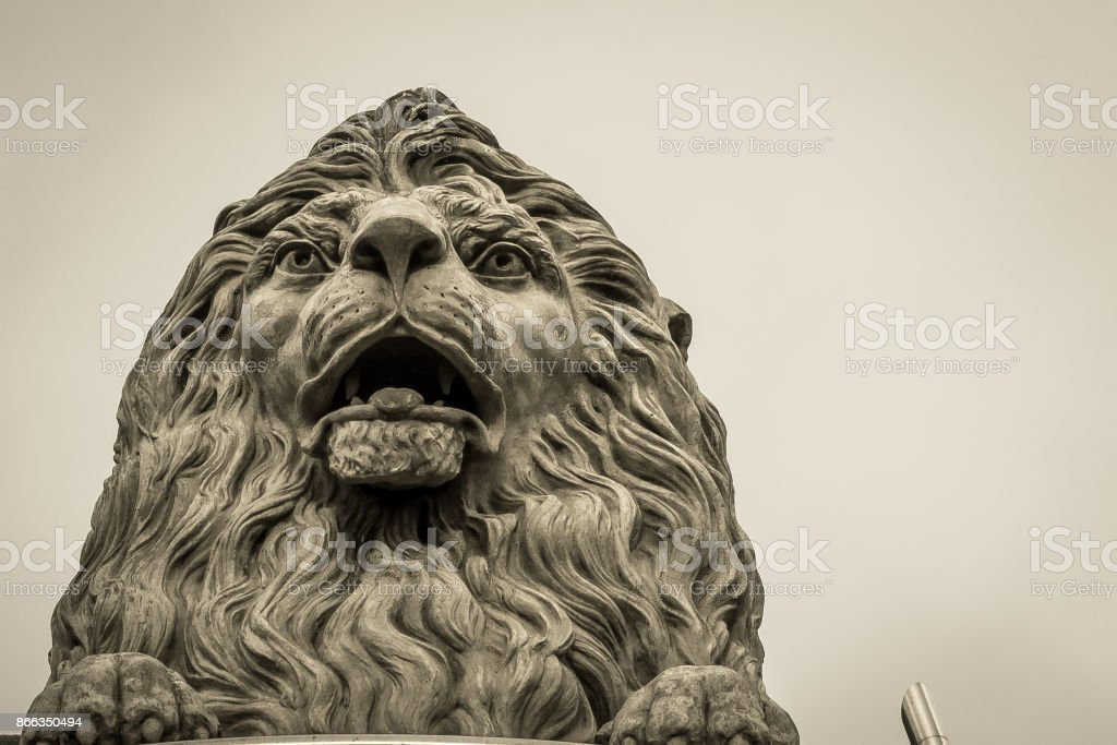 Lion's Head Sculpture stock photo