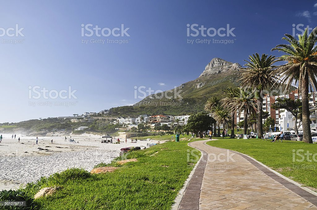 Lion's Head seen from Camps Bay - Cape Town, SA stock photo