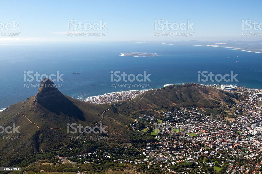 Lion's Head, Signal Hill and Robben Island stock photo