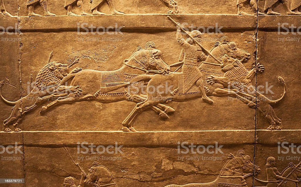 Lions hunting in ancient Assyria stock photo
